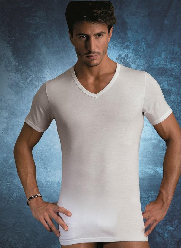 Cotonella – V-nyakú pamut férfi póló